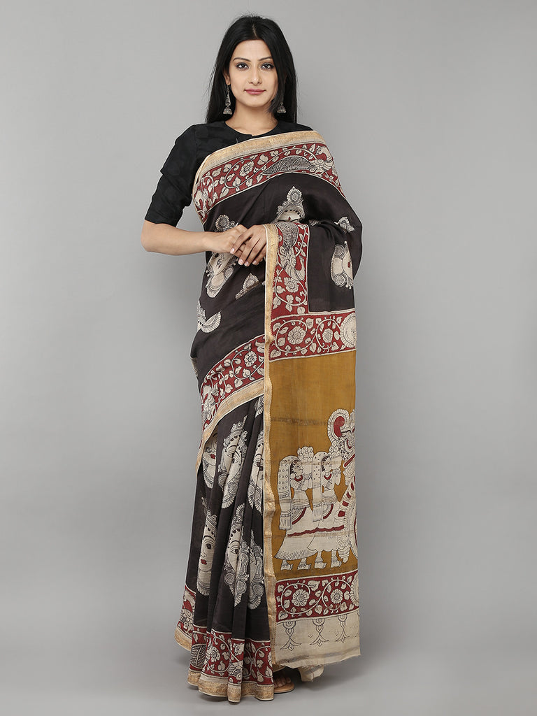 Black Chanderi Kalamkari Saree