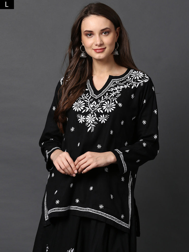 Black Chikankari Cotton Top