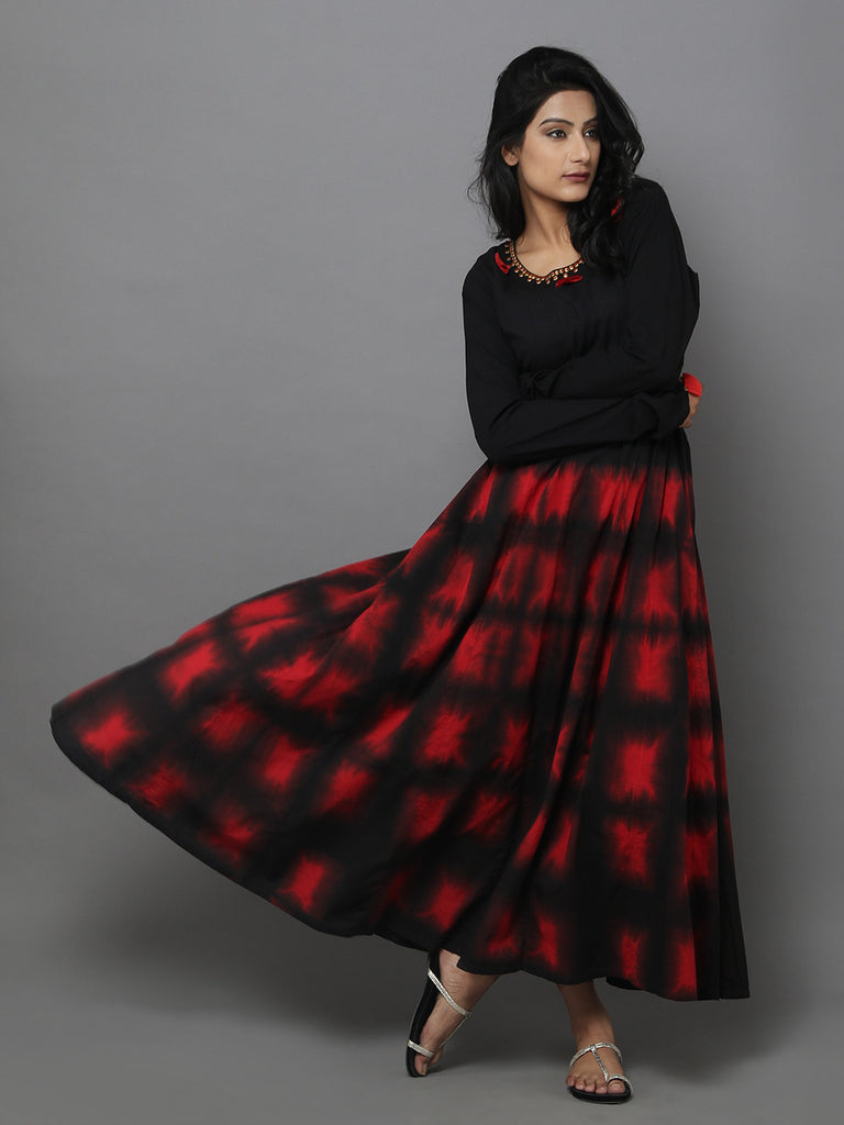 Black Clamp Dyed Cotton Anarkali Dress