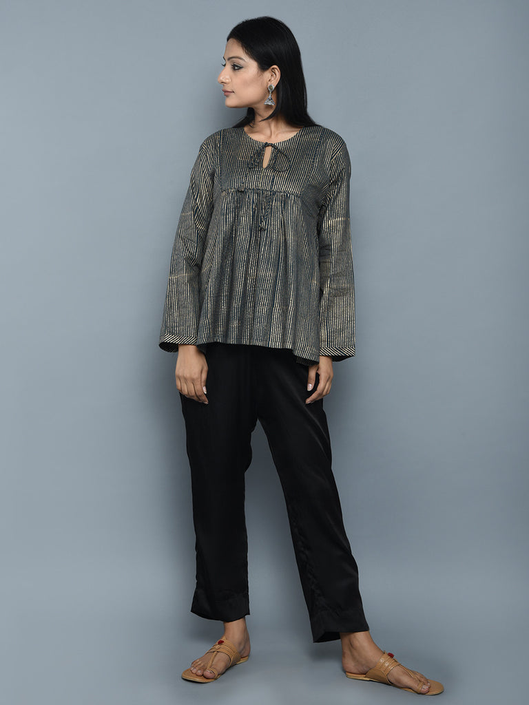 Black Cotton Block Printed Top