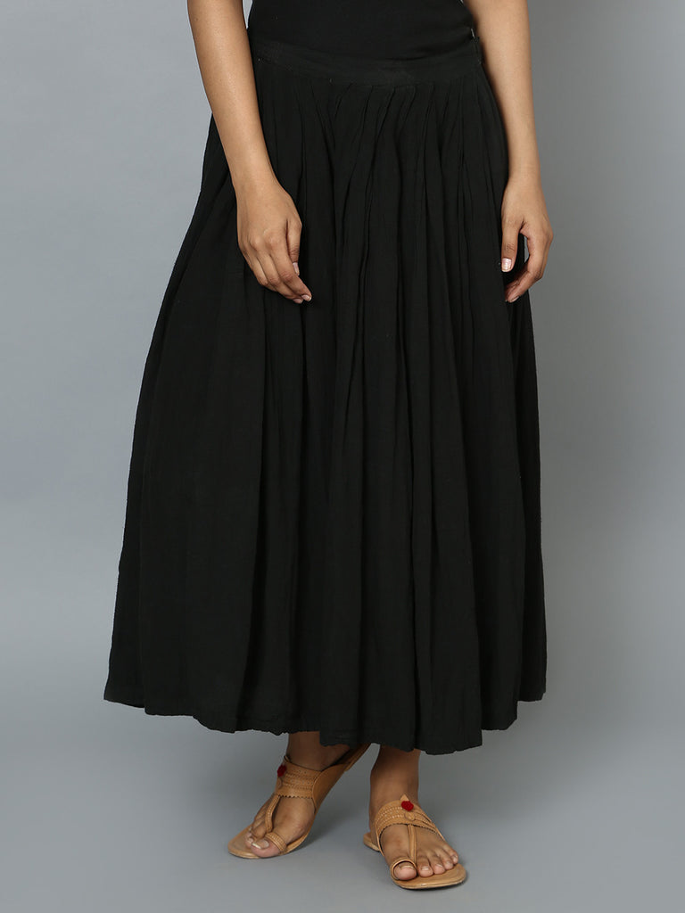 Black Cotton Crop Palazzo Pants