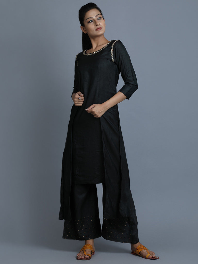 Black Cotton Embroidered Kurta