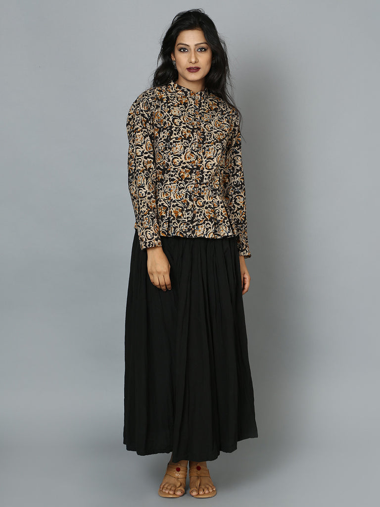 Black Cotton Kalamkari Jacket