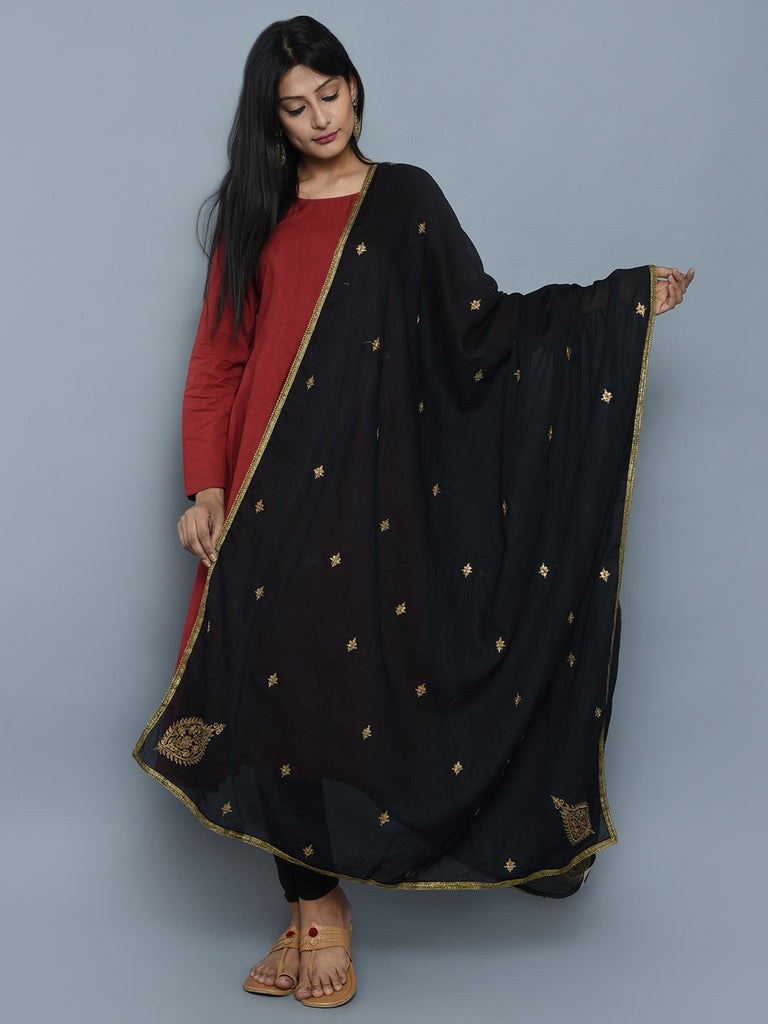 Black Cotton Mul Zardosi Embroidered Dupatta