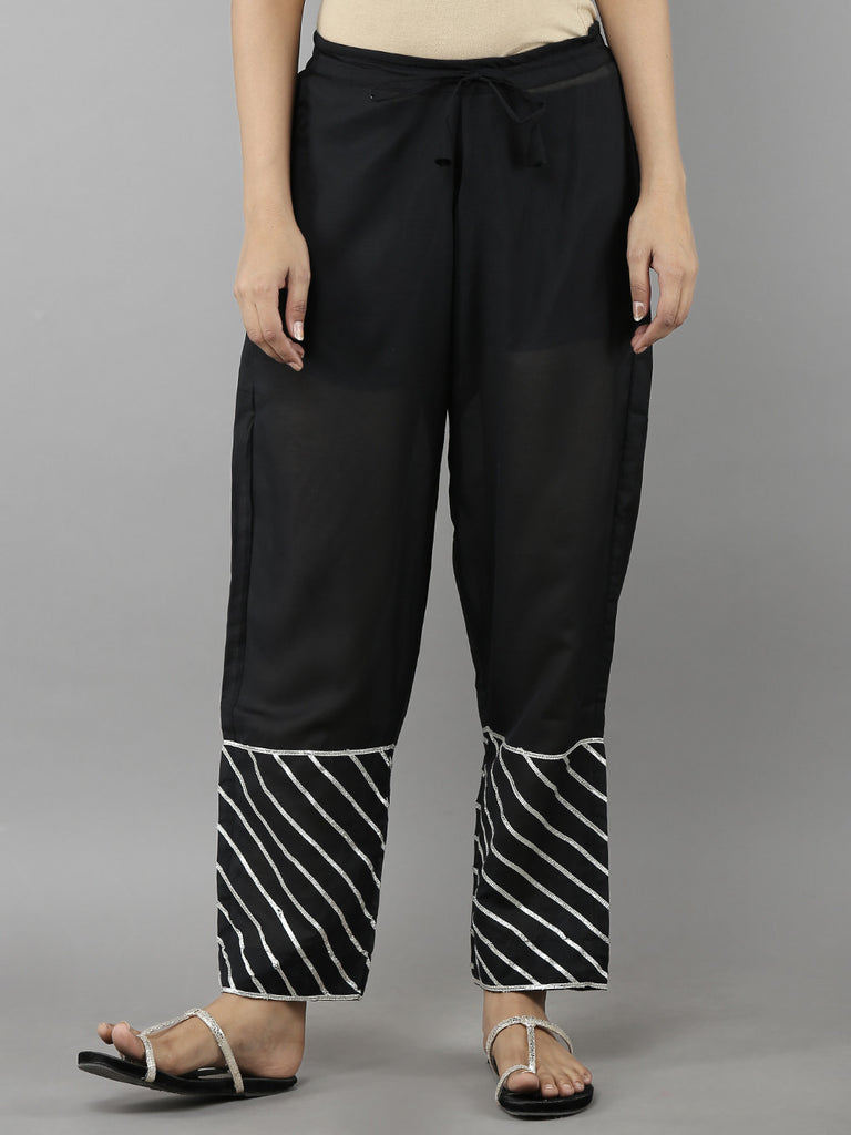 Black Cotton Mulmul Ijar Pants