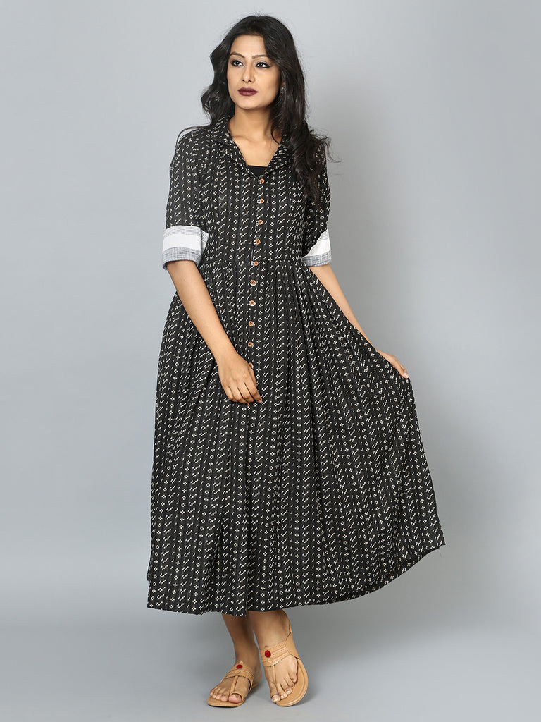 Black Cotton Pixels Vintage Midi Dress