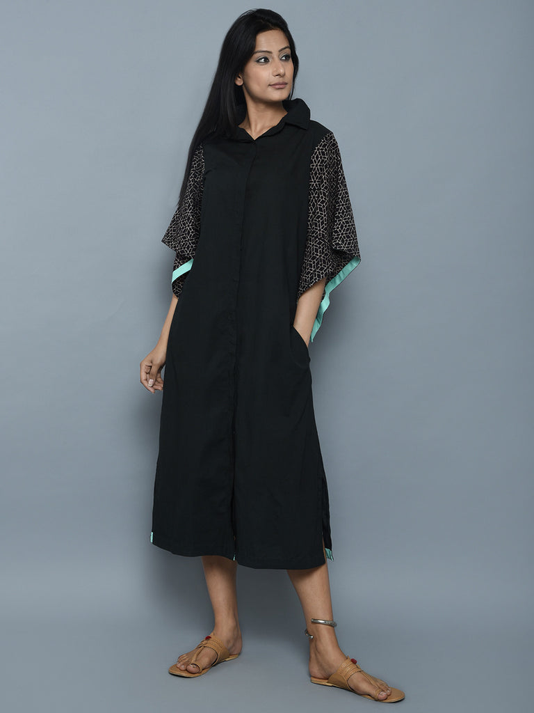 Black Cotton Shirt Dress