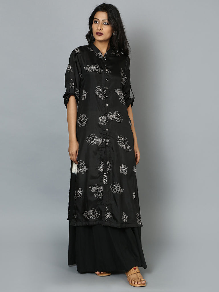 Black Cotton Silk Shirt Kurta