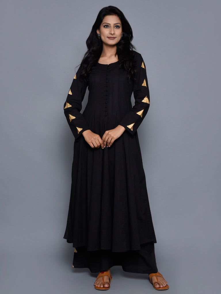 Black Cotton Tikona Anarkali Kurta
