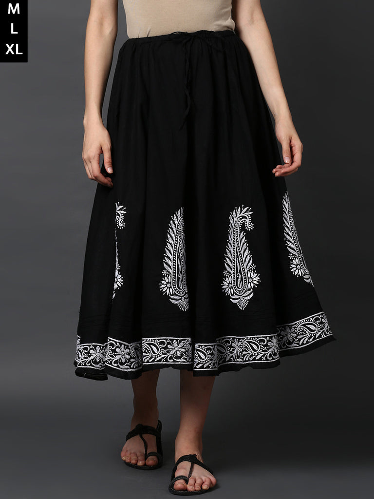 Black Cotton Chikankari Skirt