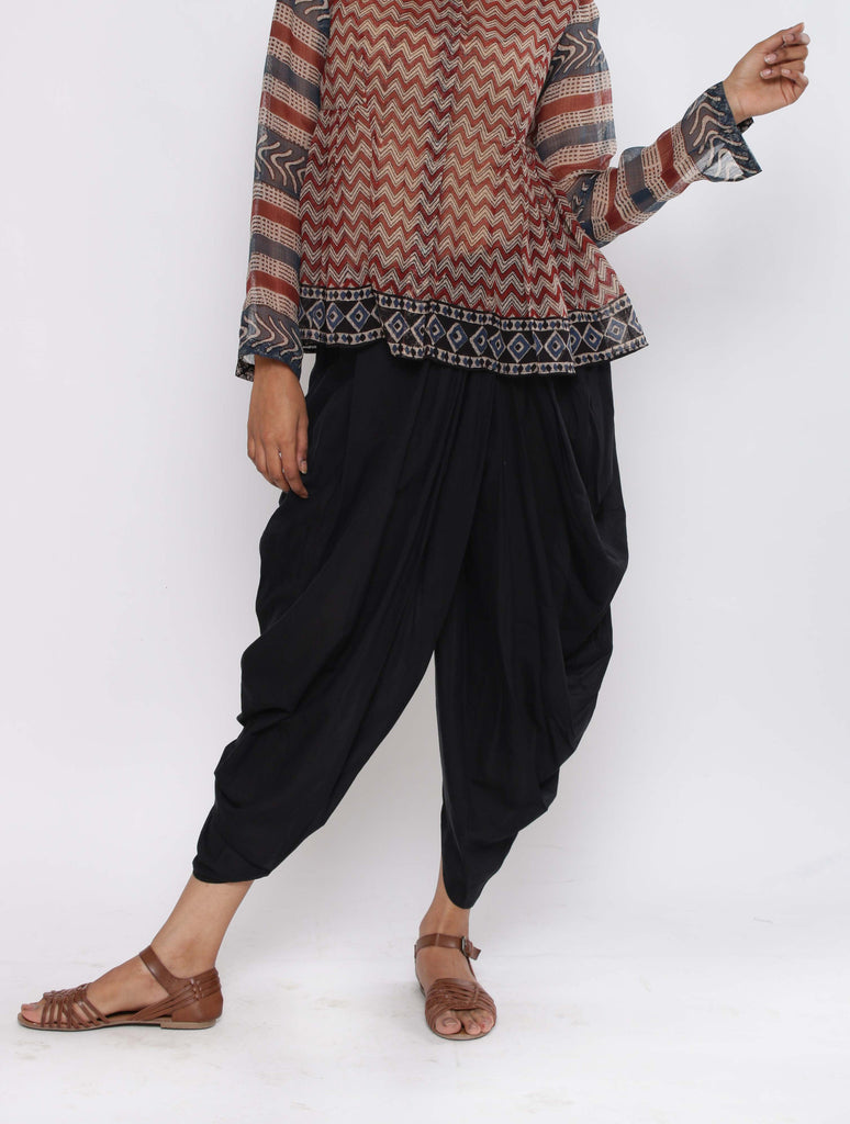 Black Dhoti Cotton Silk Trousers