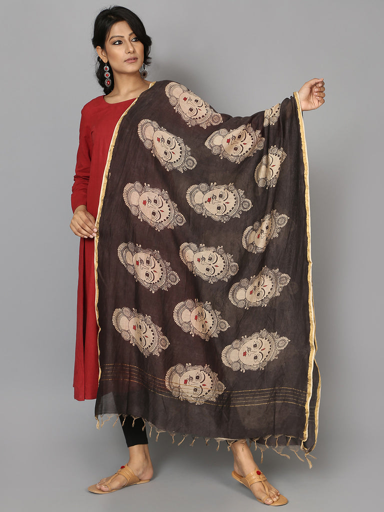 Black Face Chanderi Hand Painted Kalamkari Dupatta