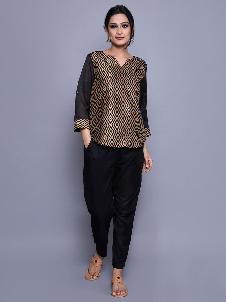 Black Golden Chanderi Block Printed Shirt