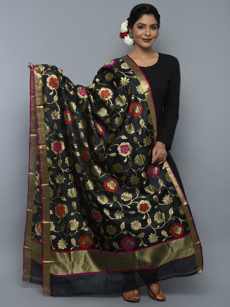 Black Golden Handwoven Banarasi Dupatta