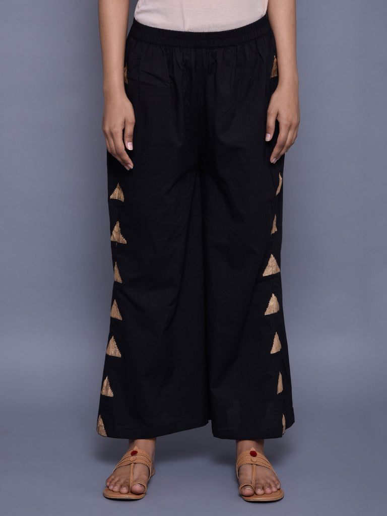 Black Golden Block Printed Tikona Pants