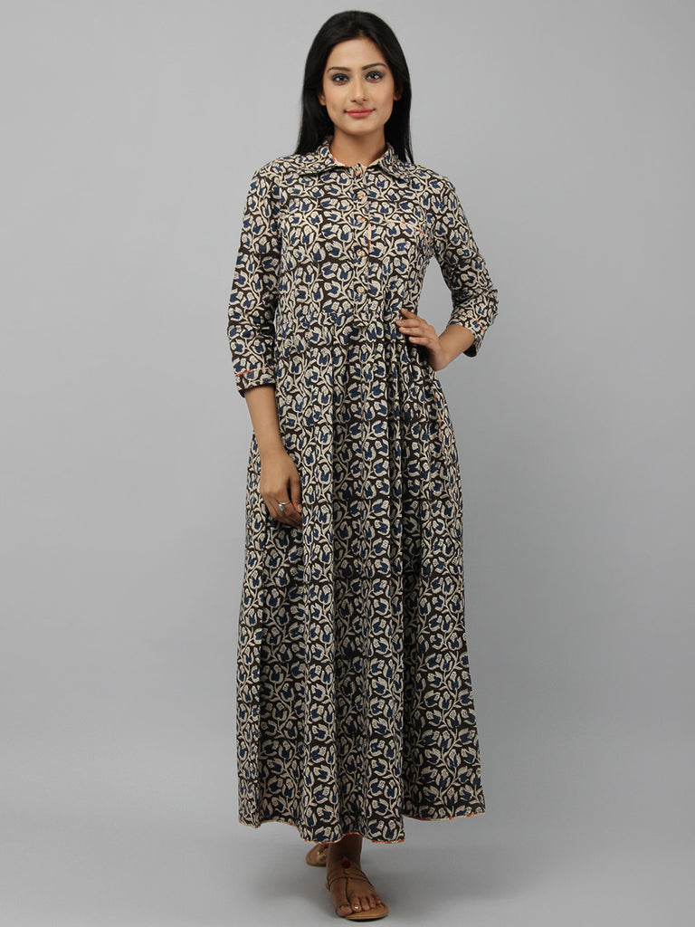 Black Hand Block Printed Cotton Shirt Dress