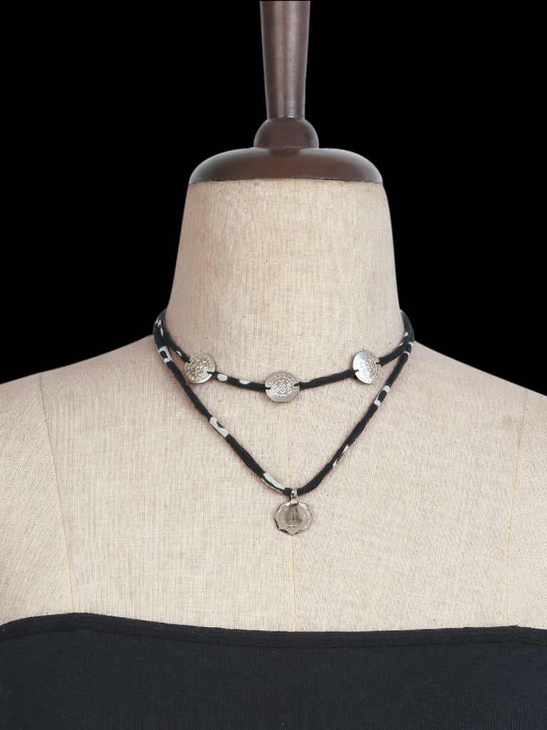 Black Hand Crafted Layered Coin Choker