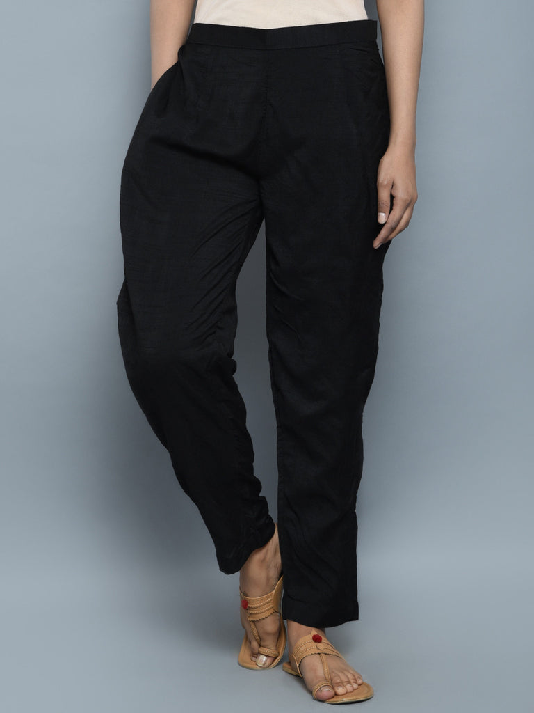 Black Khadi Cotton Silk Pants