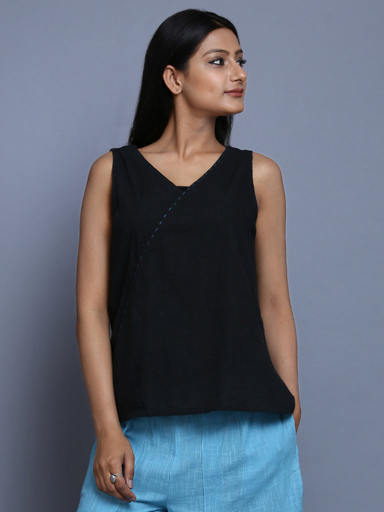 Black Khadi Cotton Top