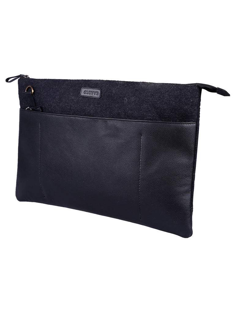 Black Leather Fitmac Laptop Bag