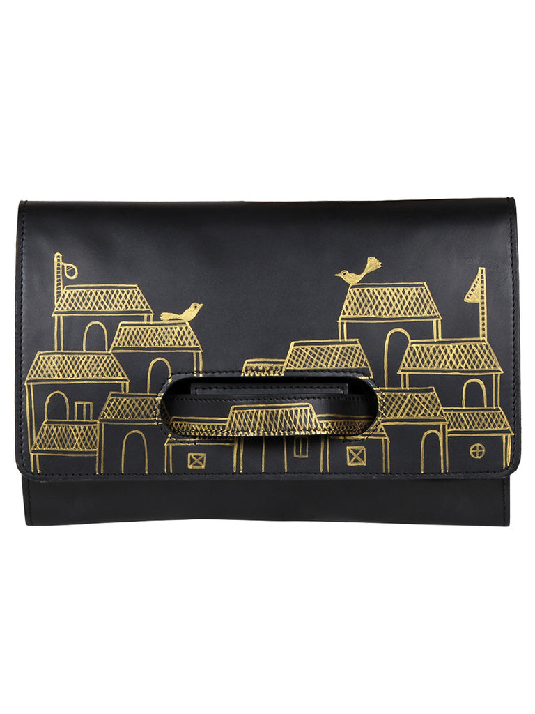 Black Leather Hand Painted Handheld Envelop Clutch
