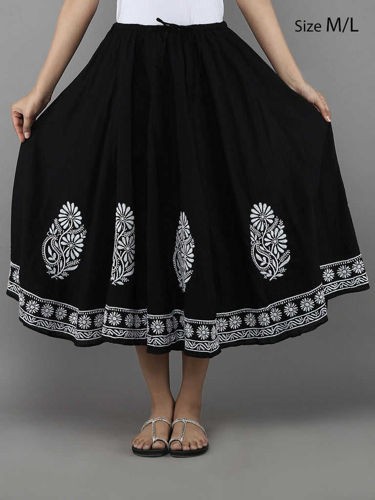 Black Lucknowi Hand Embroidered Cotton Skirt