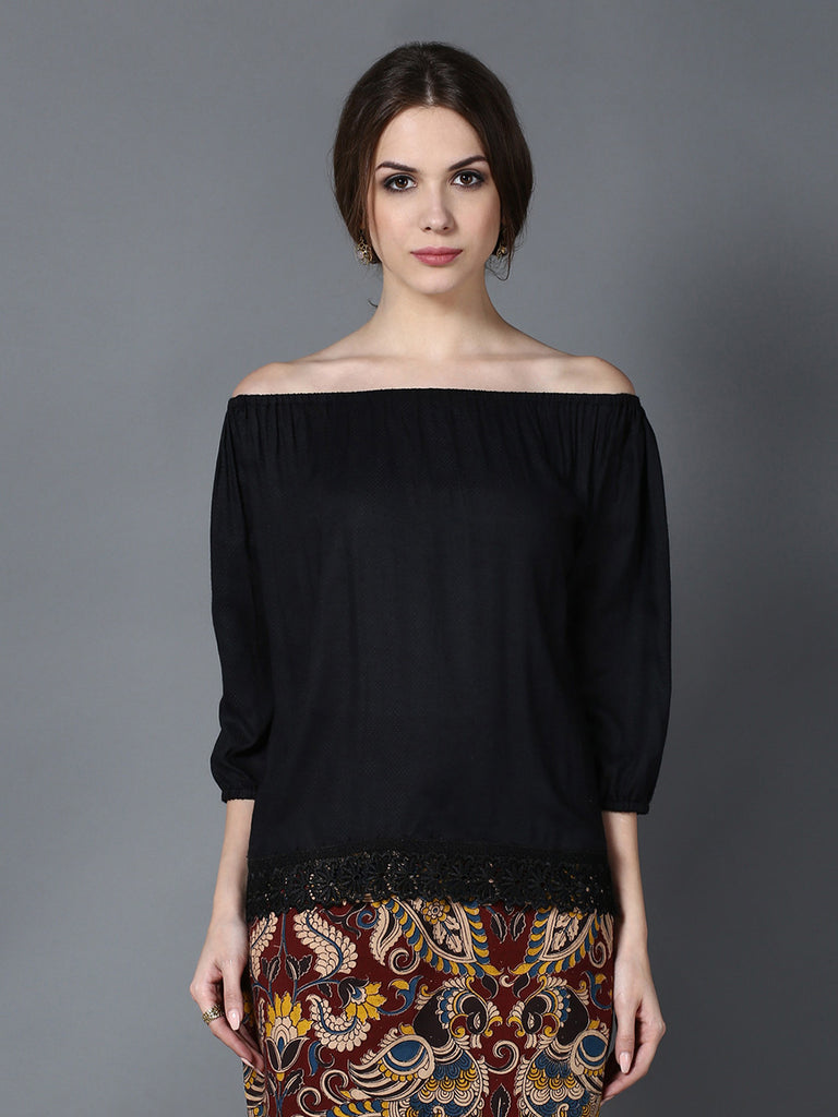 Black Modal Off Shoulder Top