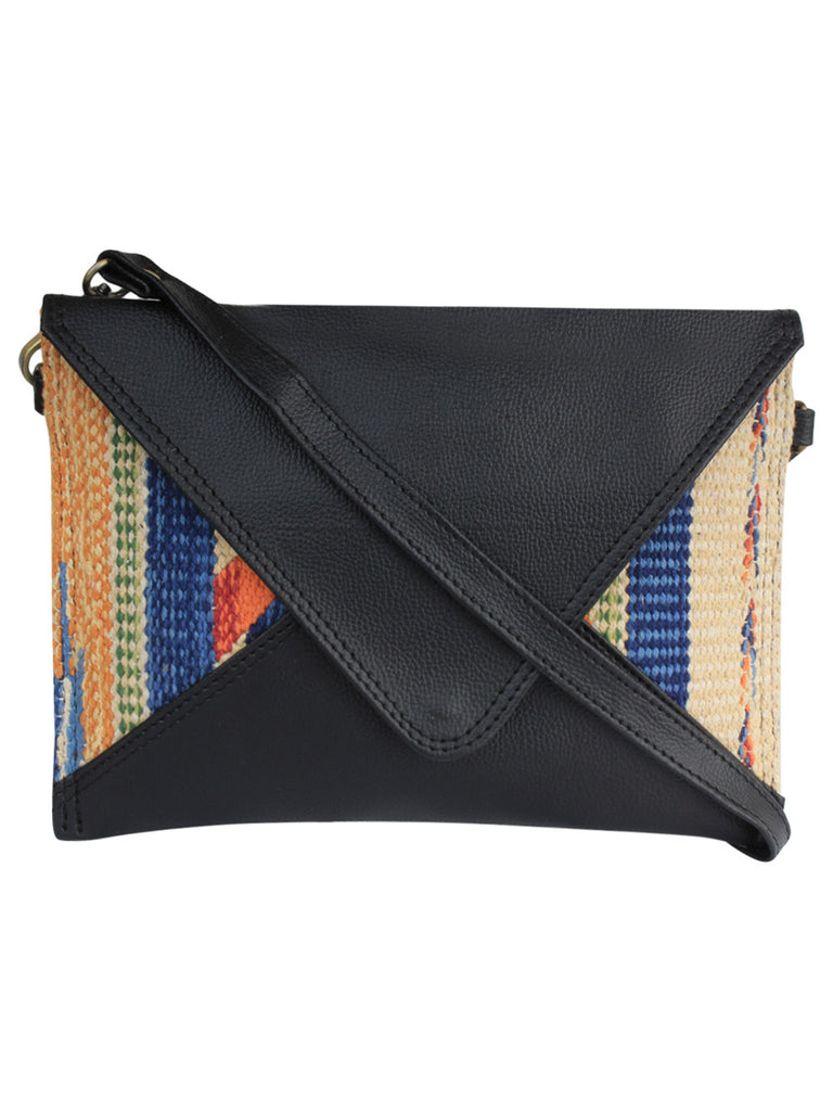 Black Multi Color Cotton Kilim Faux Leather Mini Sling Bag