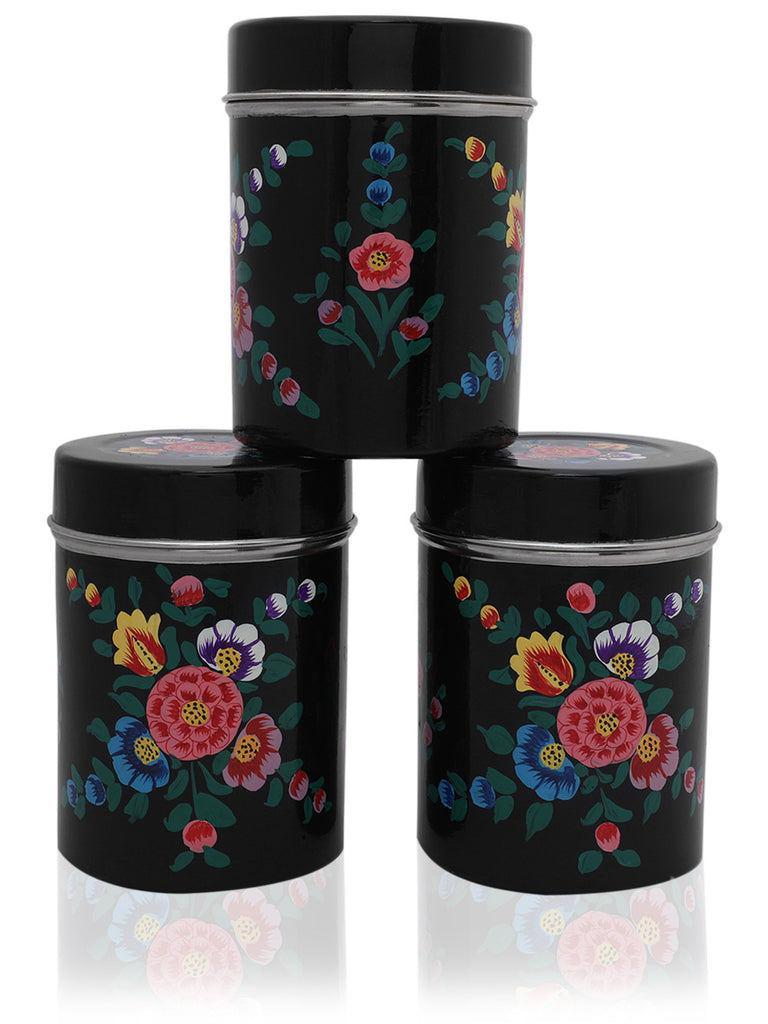 Black Multi Color Hand Painted Canisters - Set of 3