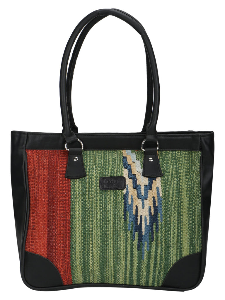 Multi color Kilim with Black Faux Leather Tote Bag