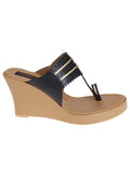 Black Nude Handcrafted Leatherette Kolhapuris Wedges