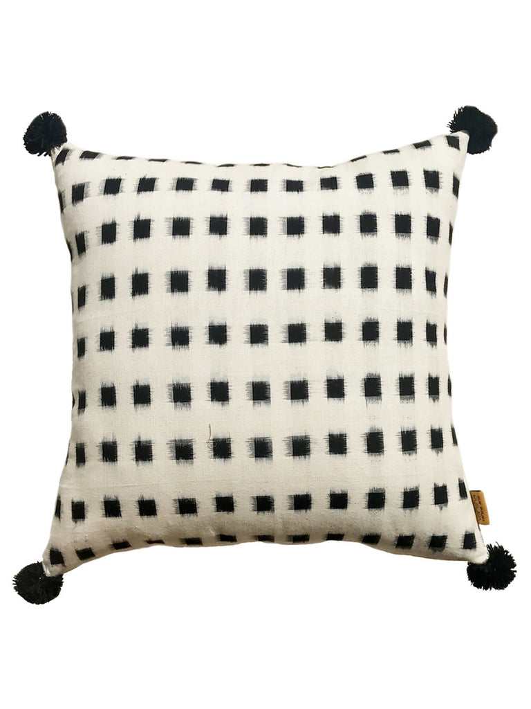Black Off White Ikat Cushion Cover