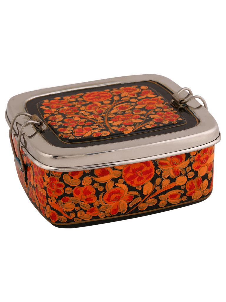 Orange Black Floral Hand Painted Steel Clip Lunch Box