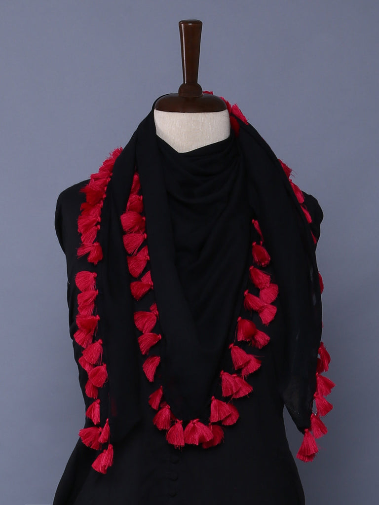 Black Pink Cotton Mulmul Square Scarf with Tassels