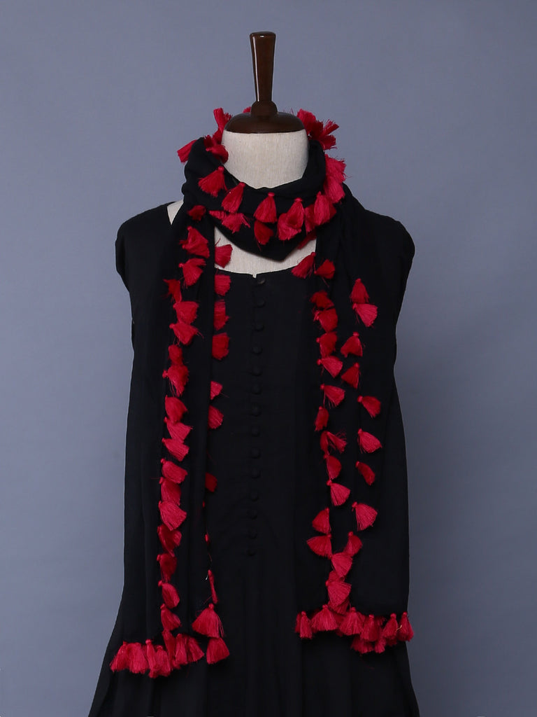 Black Pink Cotton Mulmul Tassel Stole