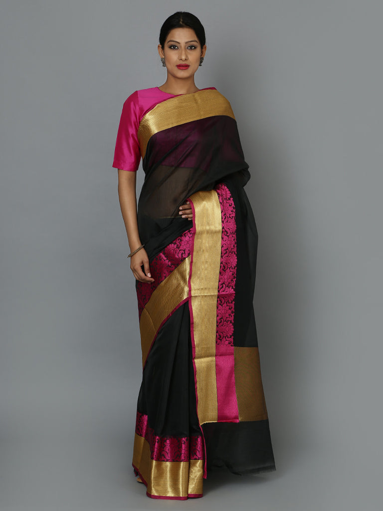 Black Pink Golden Hand Woven Banarasi Cotton Silk Saree