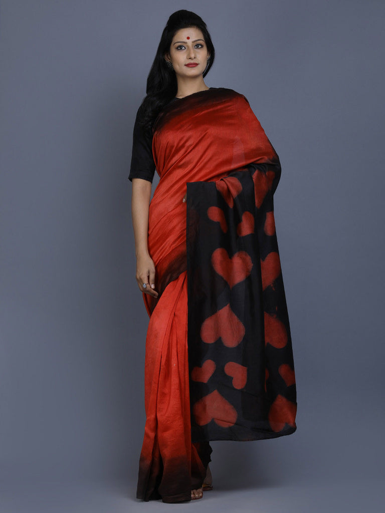 Black Red Clamp Dyed Chanderi Silk Heart Saree