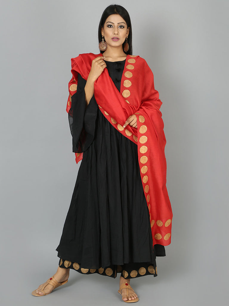 Black Red Cotton Anarkali Suit  - Set of 3