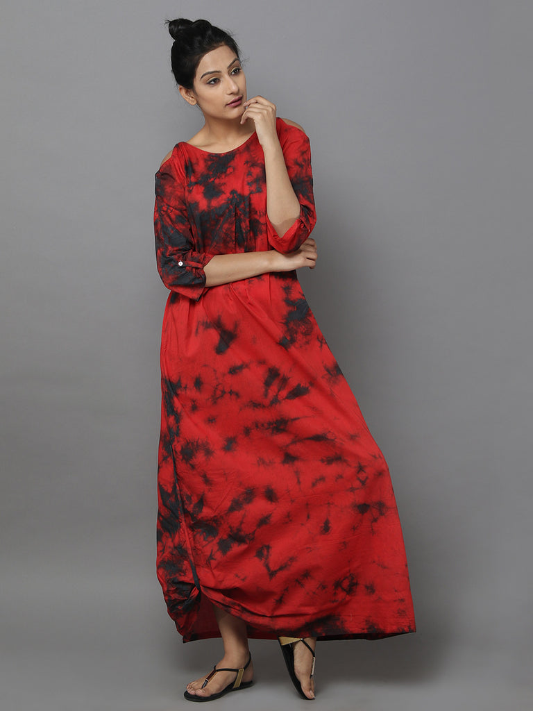Red Black Cotton Dress