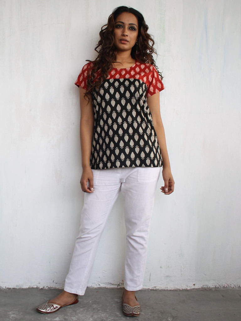 Black Red Cotton Hand Block Printed Top