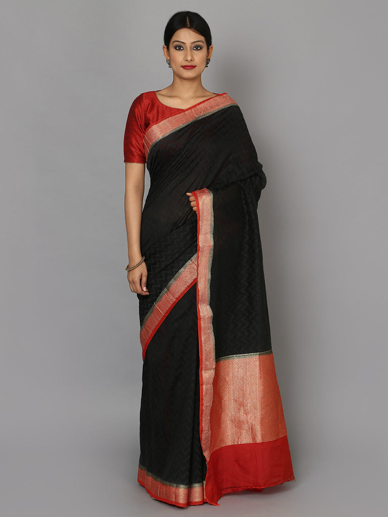 Black Red Hand Woven Banarasi Cotton Saree