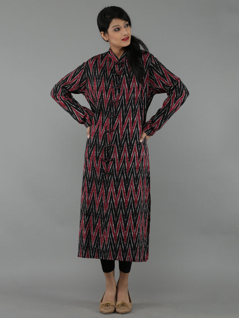 Black Red Ikat Kurta