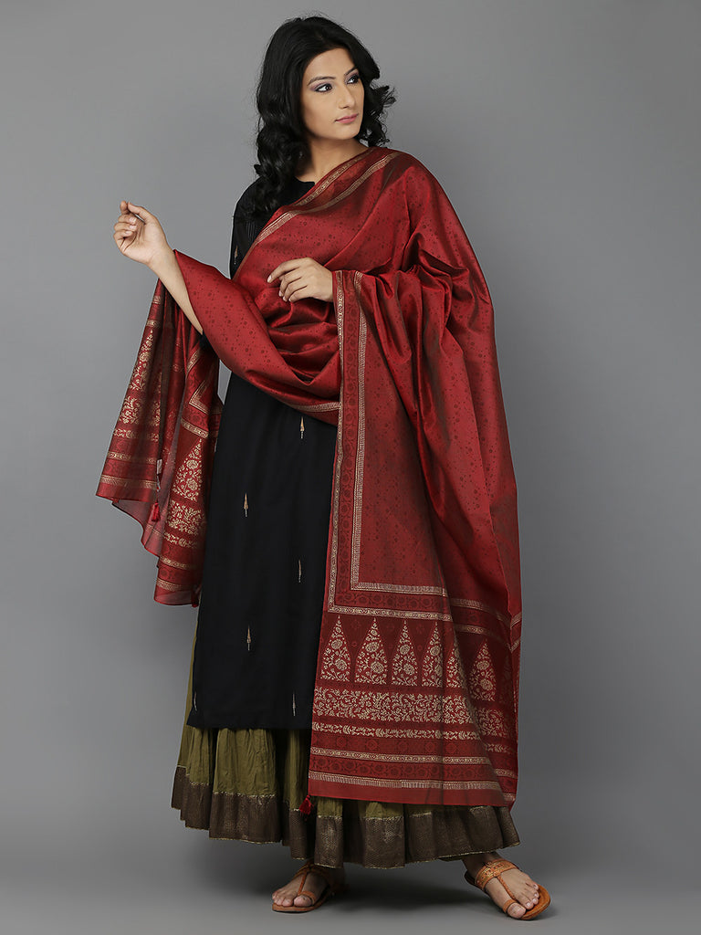 Black Red Olive Chanderi Kurta and Dupatta with Cambric Lehnga - Set of 3