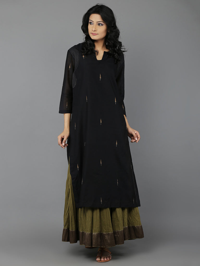 Black Embroidered Chanderi Kurta with Cotton Slip