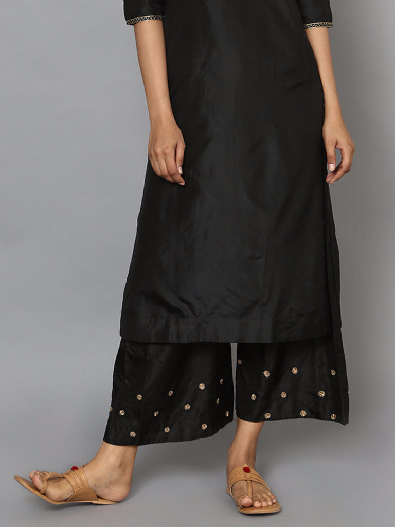 Black Silk Embroidered Palazzo