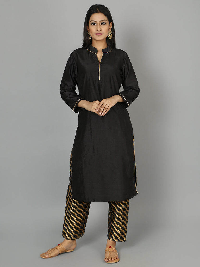 Black Silk Kurta with Pants - Set of 2