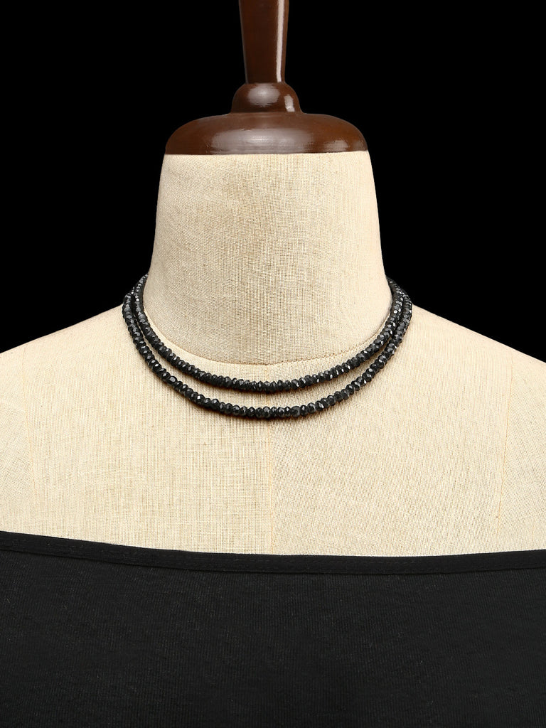 Black Spinel Diamond Cut Double Strand Necklace