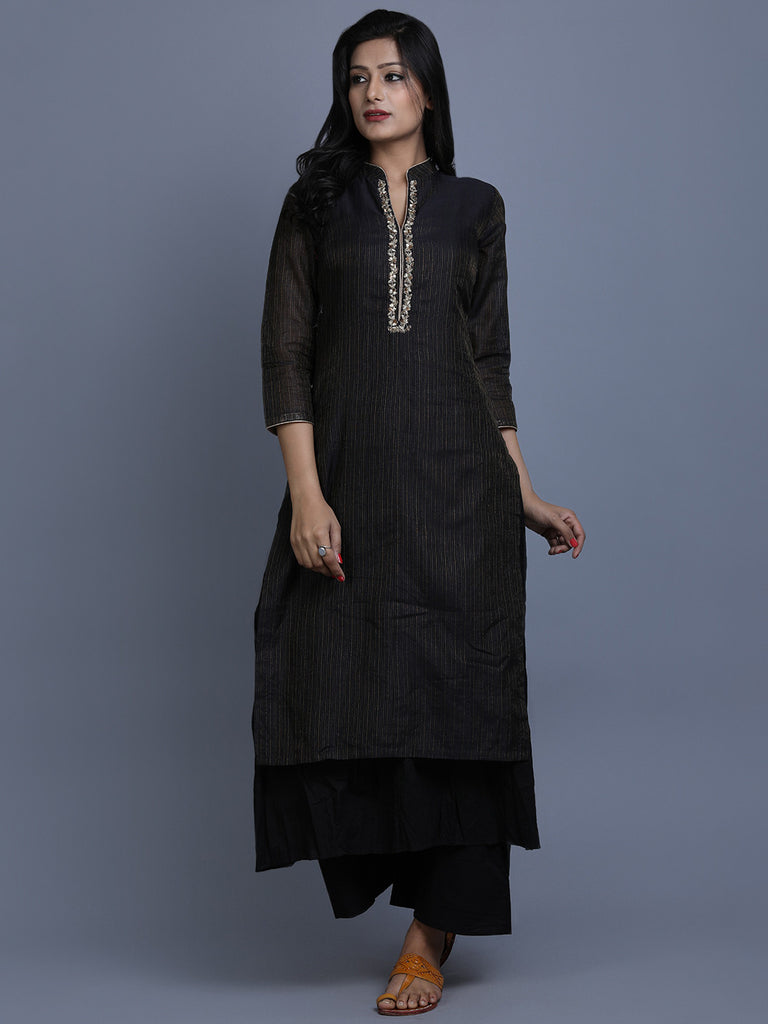 Black Striped Chanderi Layered Kurta