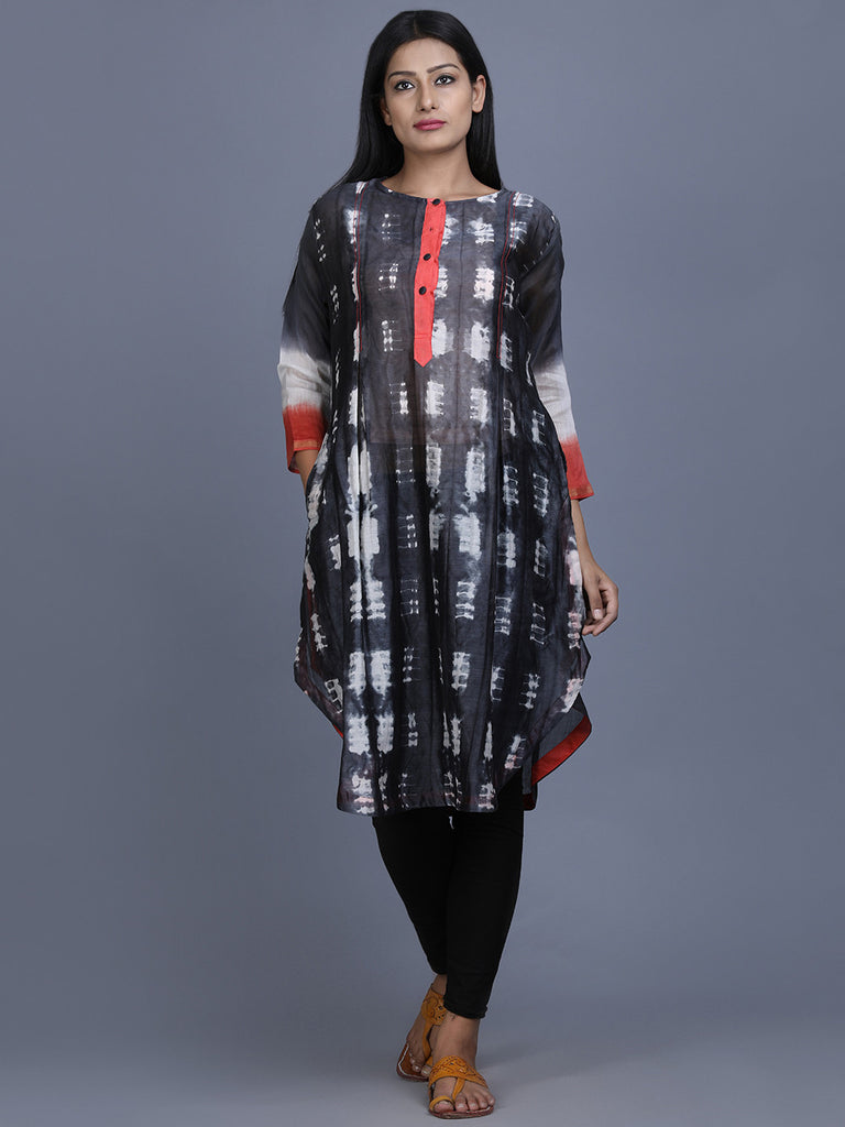 Black White Chanderi Silk Shibori Dye Tunic