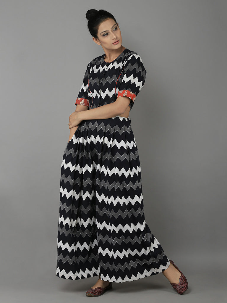 Black White Cotton Block Printed Jumpsuit